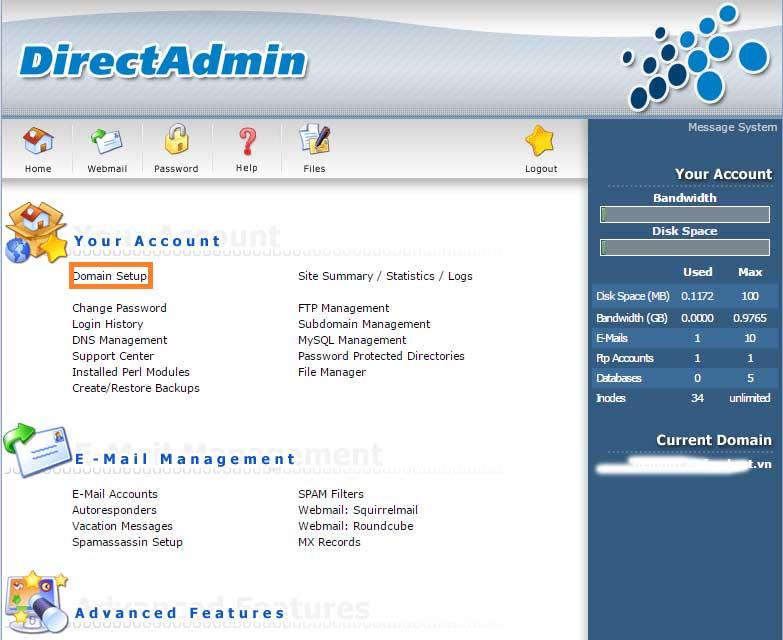 Thêm tên miền vào hosting DirectAdmin