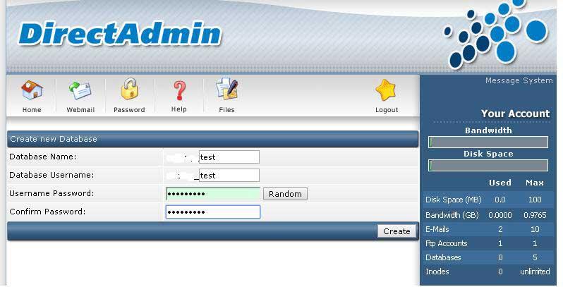 Tạo database với Direct Admin