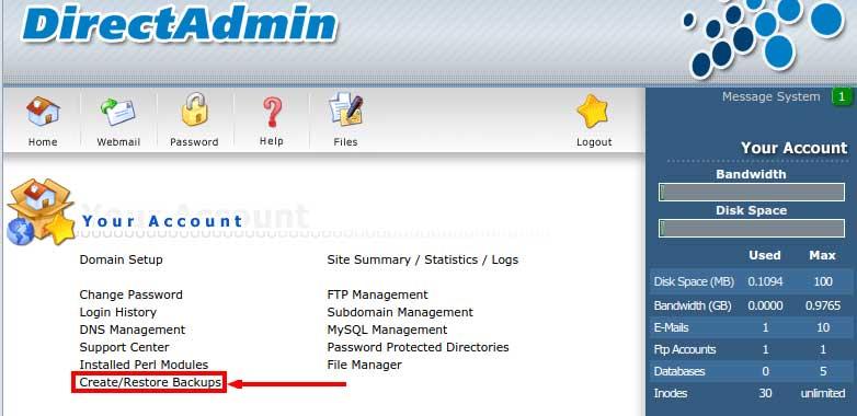 Sao lưu dữ liệu trong Direct Admin