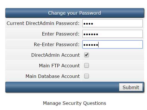 Thay đổi mật khẩu trong DirectAdmin