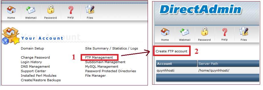 Tạo tài khoản ftp, kết nối filezilla trên Directadmin