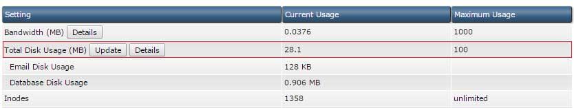 Xem và cập nhật thống kê dung lượng ổ cứng trên DirectAdmin
