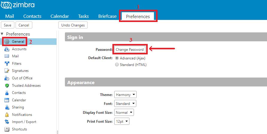 Hướng dẫn đổi mật khẩu email trên webmail Zimbra