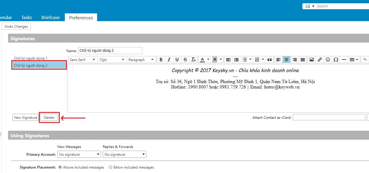 Hướng dẫn tạo, xóa chữ ký cho email trên webmail Zimbra