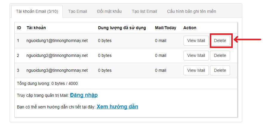 Hướng dẫn quản lý Email Doanh Nghiệp tại trang quản lý Keyweb.vn